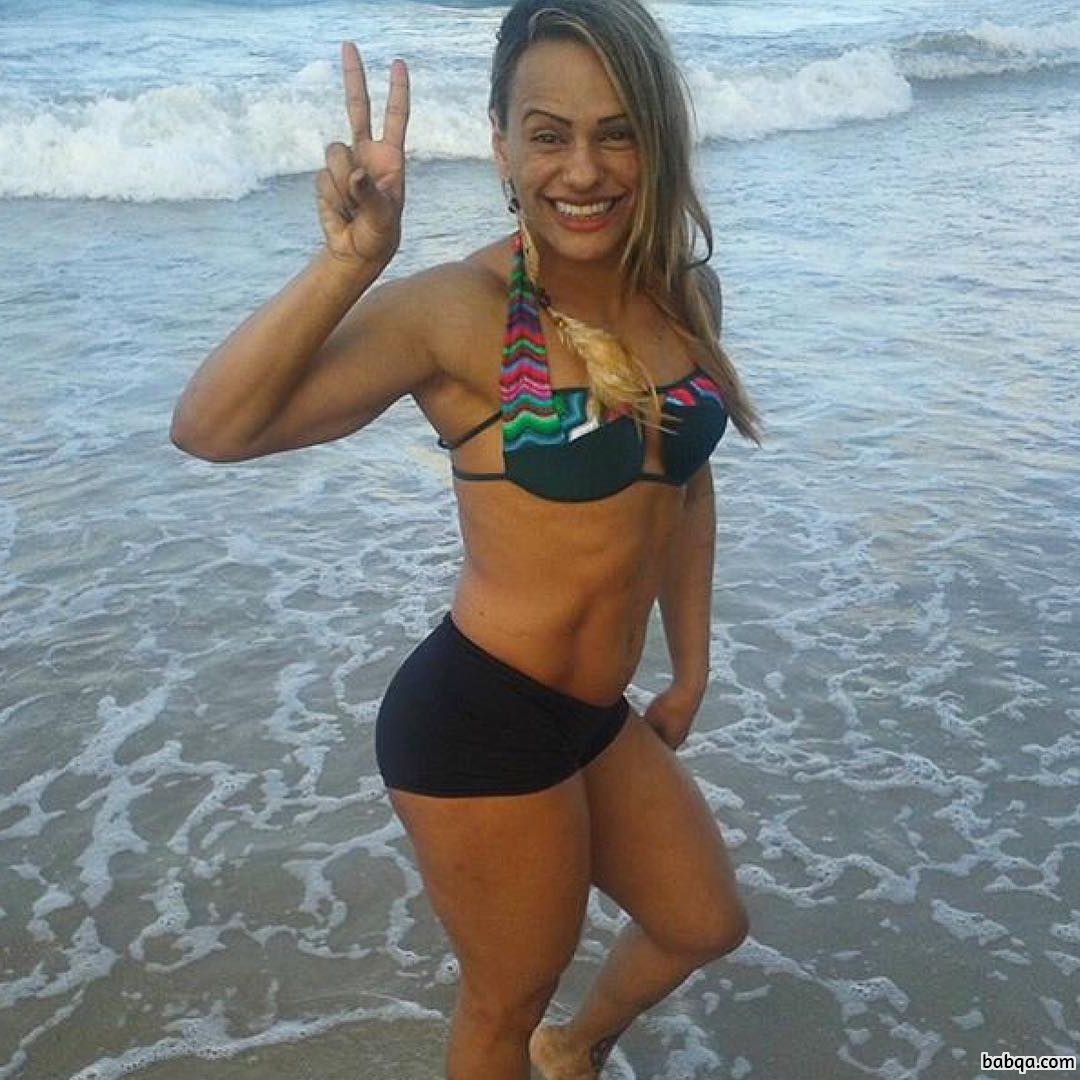 hot female bodybuilder with fitness body and muscle arms repost from facebook
