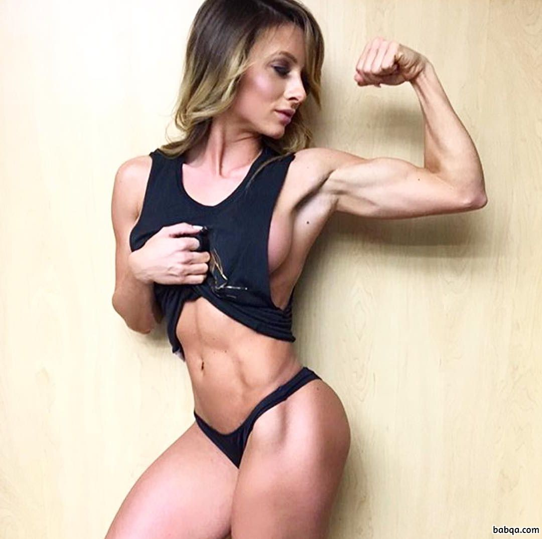 cute girl with fitness body and muscle arms pic from linkedin