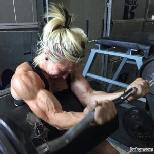 hot woman with muscle body and muscle biceps pic from g+