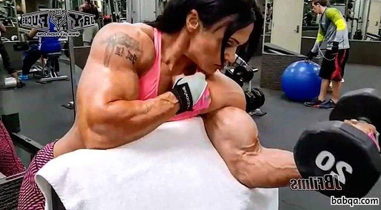 beautiful chick with strong body and muscle biceps image from instagram