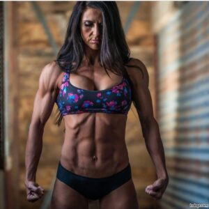 perfect woman with muscle body and muscle arms photo from insta