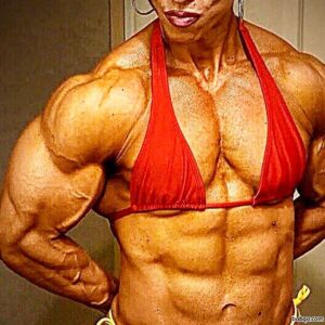 awesome woman with muscle body and muscle biceps pic from instagram