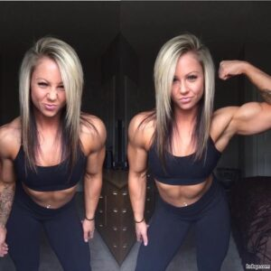 beautiful chick with fitness body and muscle biceps repost from reddit
