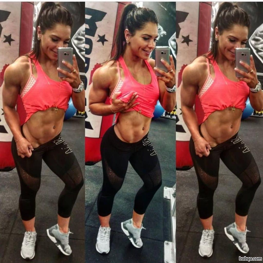 hot female with fitness body and muscle biceps post from linkedin