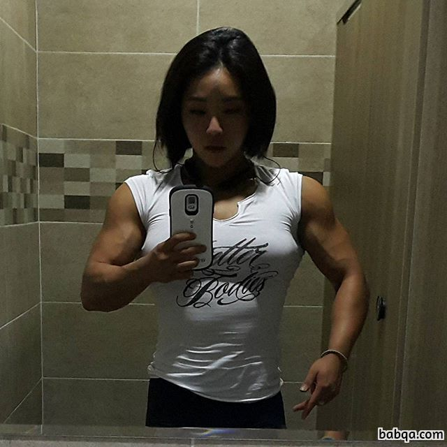 perfect lady with muscular body and muscle arms picture from linkedin