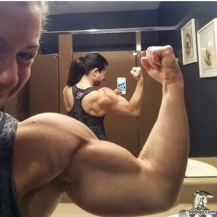 hottest chick with muscular body and toned biceps repost from insta