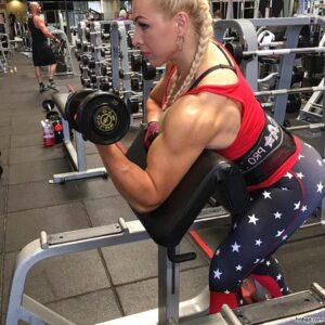 beautiful female with fitness body and muscle arms repost from reddit