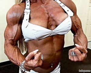 sexy female bodybuilder with muscular body and muscle biceps repost from g+