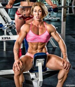 cute female bodybuilder with fitness body and toned booty image from g+