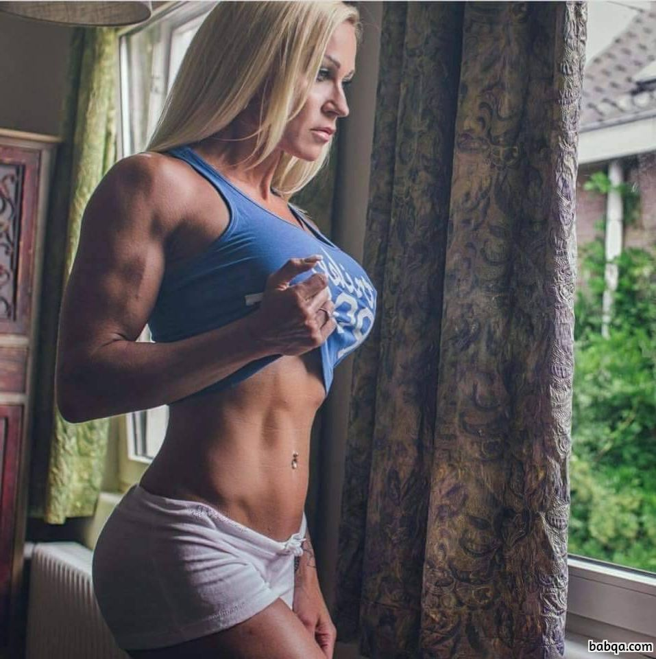 hot lady with muscular body and toned biceps photo from g+