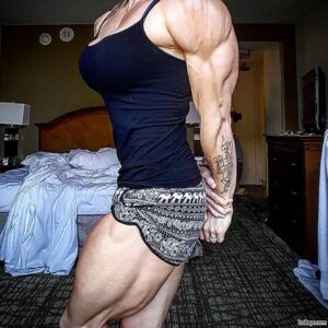 cute female bodybuilder with strong body and muscle legs repost from flickr