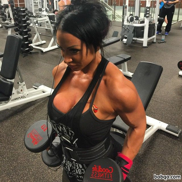 cute chick with fitness body and muscle arms repost from facebook