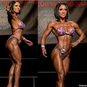 perfect female bodybuilder with strong body and muscle legs post from insta