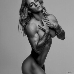 hot female with fitness body and muscle arms photo from insta