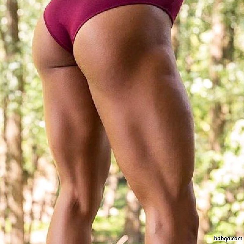 beautiful woman with strong body and muscle biceps post from insta