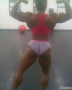 beautiful woman with fitness body and muscle legs photo from g+