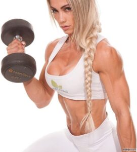 beautiful chick with muscular body and muscle biceps repost from g+