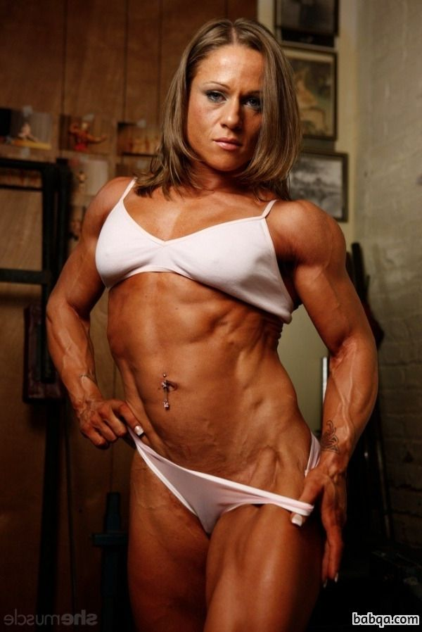 hottest lady with muscular body and muscle biceps photo from facebook