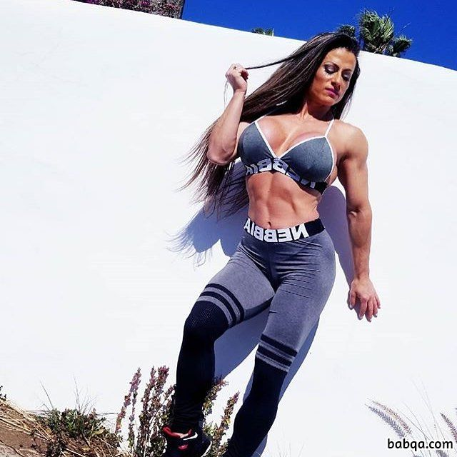 perfect girl with fitness body and toned biceps post from insta