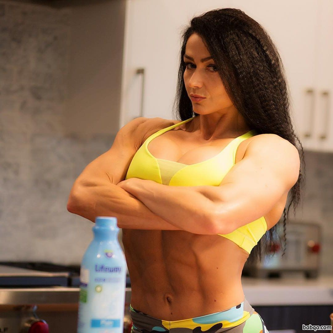 cute girl with fitness body and muscle arms pic from reddit