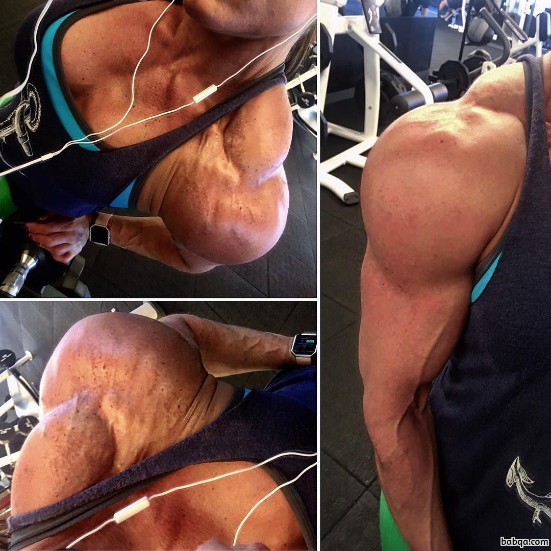 perfect woman with muscle body and muscle biceps post from linkedin