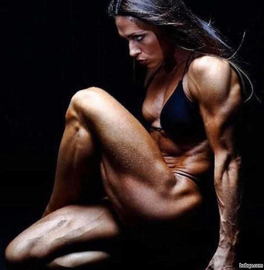 hottest female bodybuilder with muscular body and muscle biceps photo from g+