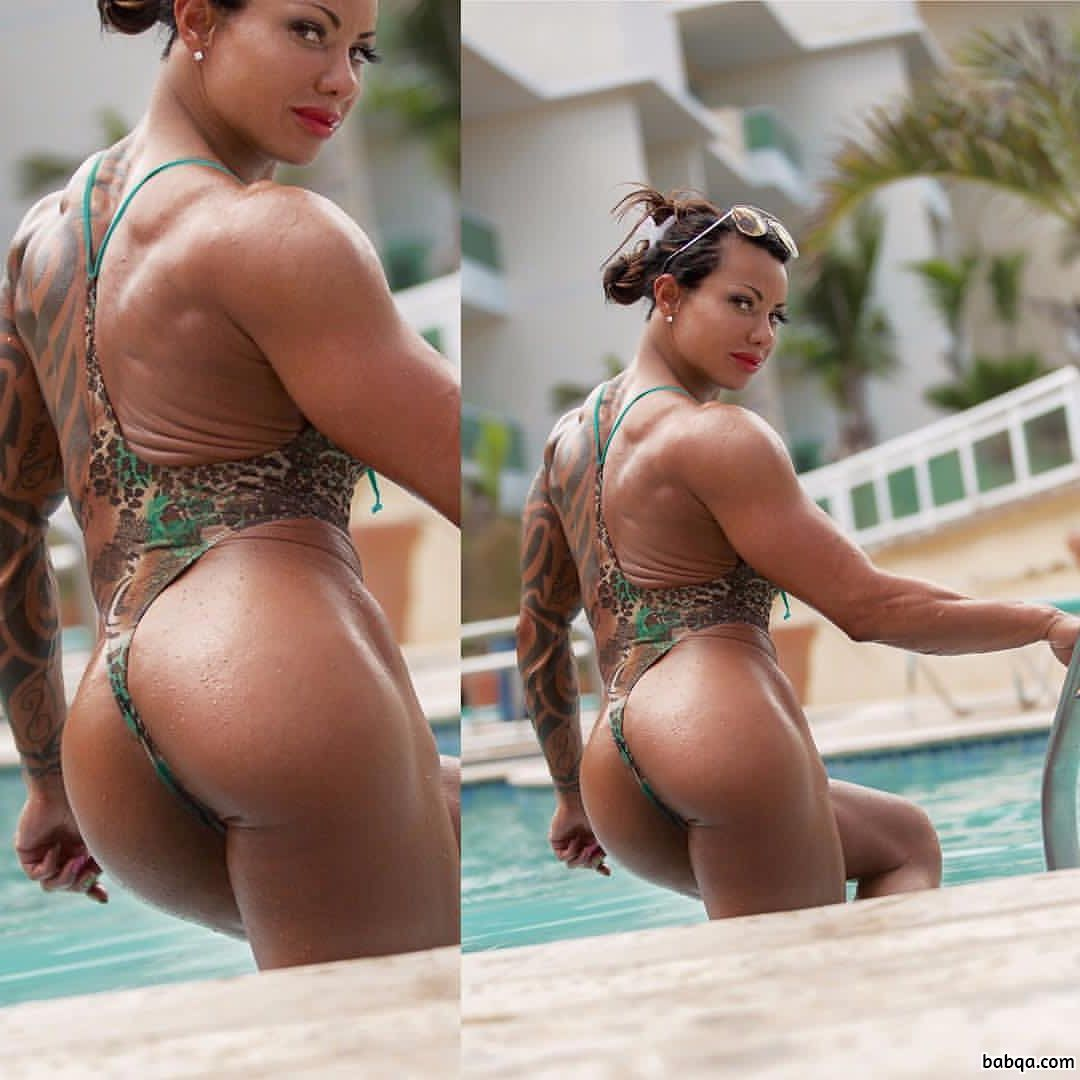 awesome woman with muscular body and muscle booty photo from facebook