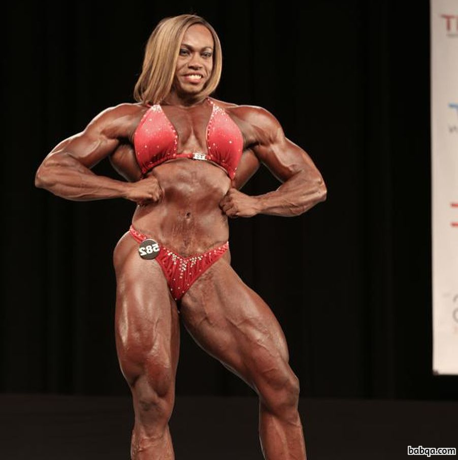 sexy female bodybuilder with muscle body and toned legs pic from facebook