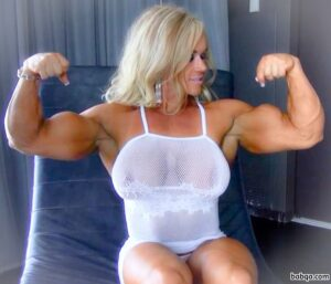 beautiful woman with strong body and muscle biceps post from flickr
