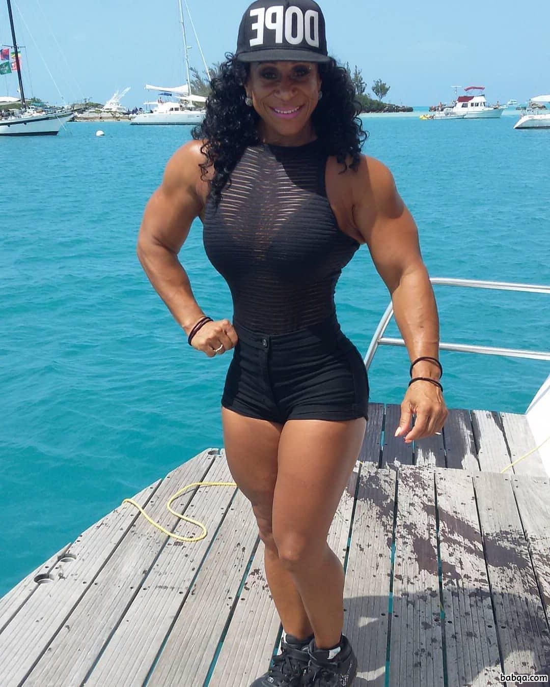 sexy female with fitness body and muscle legs repost from reddit