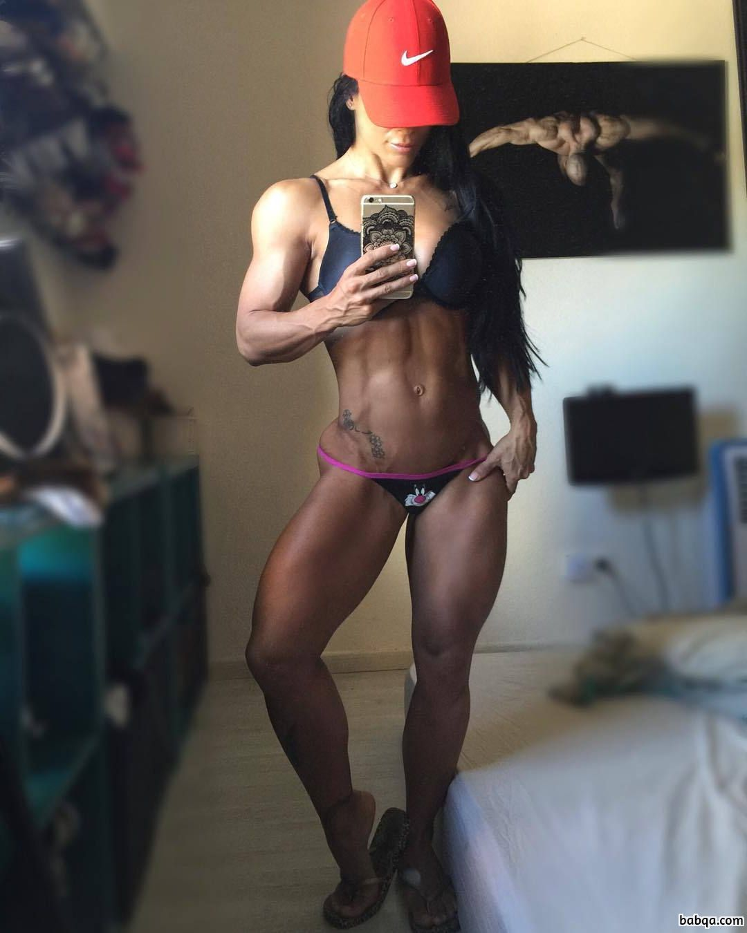 awesome chick with fitness body and muscle legs image from reddit