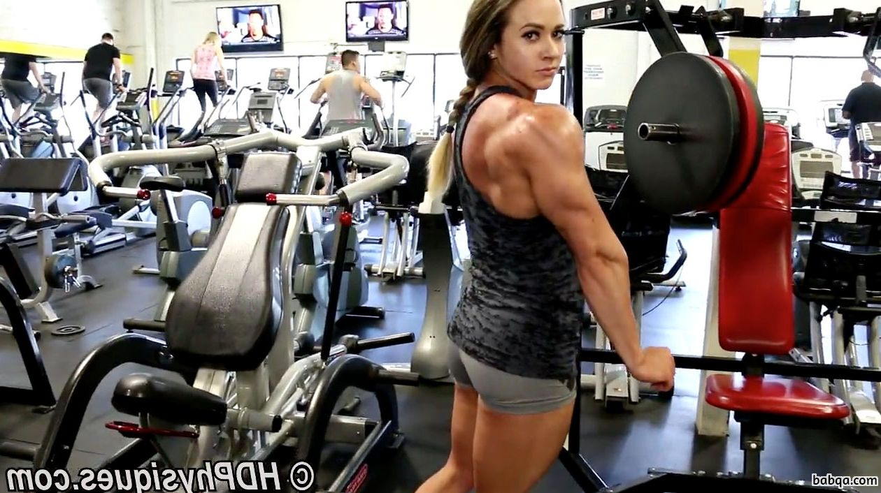 cute girl with fitness body and muscle arms repost from facebook