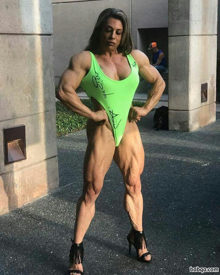 cute woman with fitness body and muscle arms pic from facebook