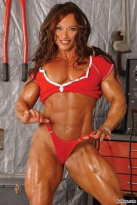 sexy female with fitness body and muscle biceps post from flickr