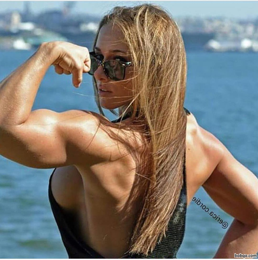 cute female bodybuilder with muscle body and muscle biceps image from g+