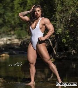 sexy chick with muscle body and toned biceps post from instagram