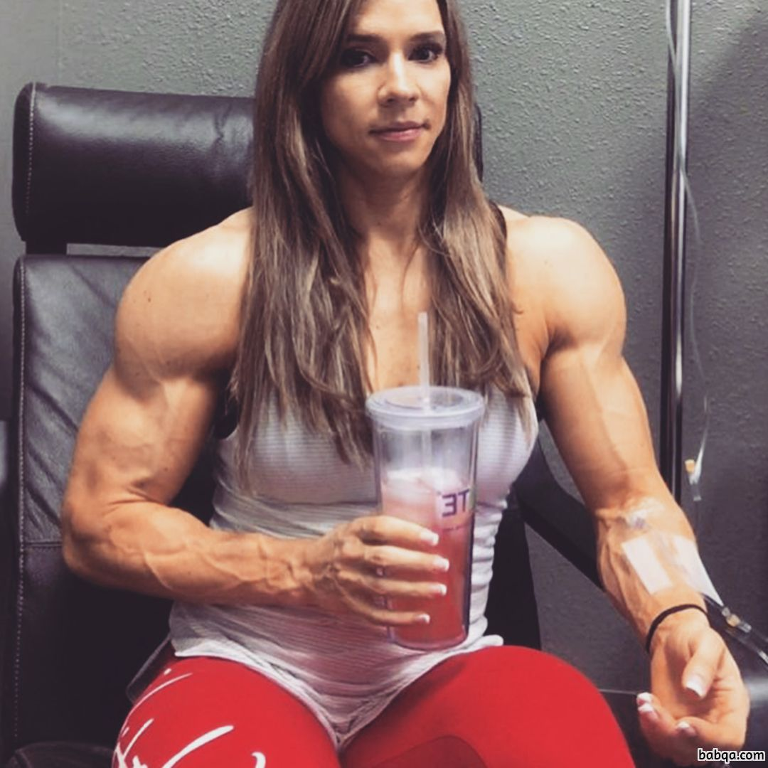 sexy girl with muscle body and toned legs photo from