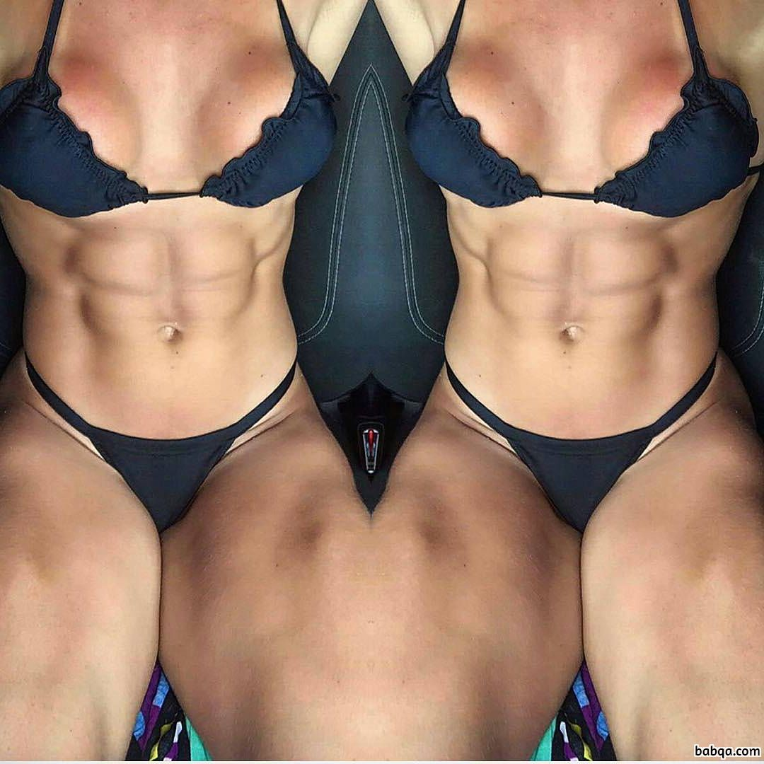 perfect female with muscular body and toned biceps repost from reddit