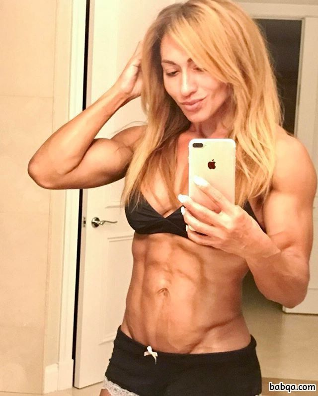 cute female with fitness body and muscle arms pic from insta