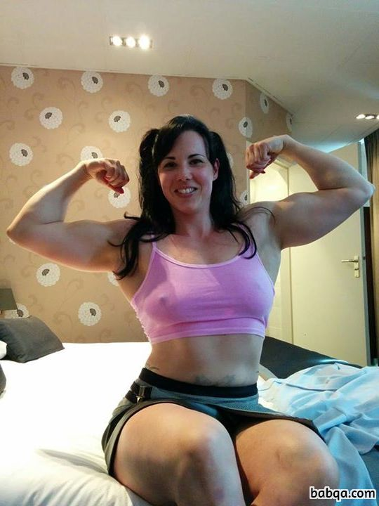 sexy female bodybuilder with muscle body and toned arms post from tumblr