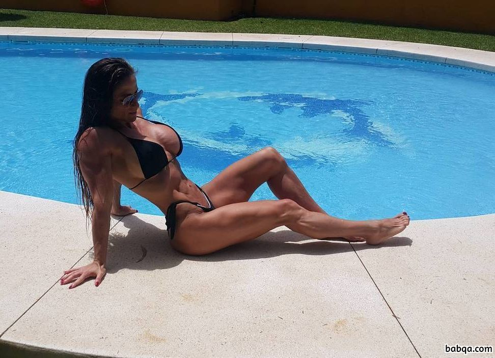 perfect chick with strong body and muscle biceps post from flickr