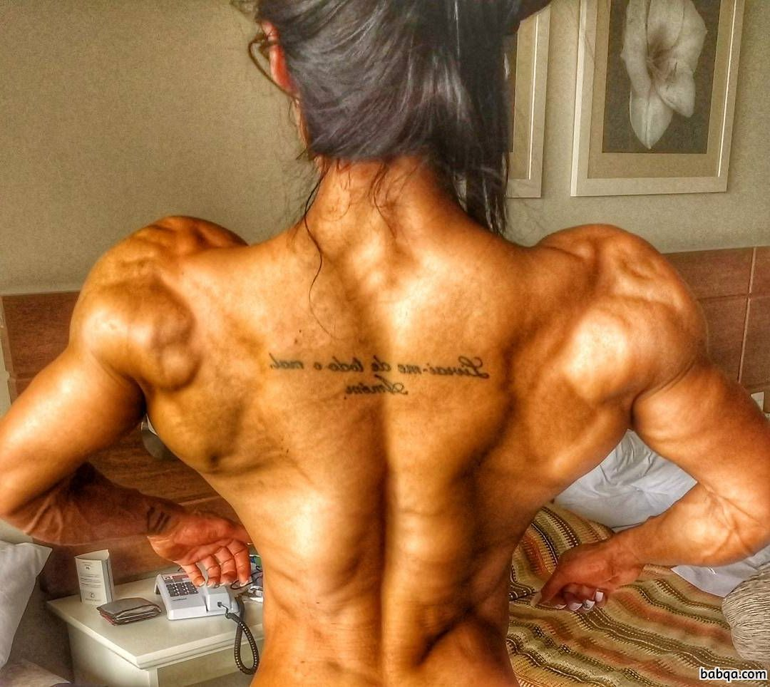 awesome female bodybuilder with fitness body and muscle biceps post from facebook