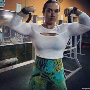 sexy female bodybuilder with muscular body and toned biceps post from insta