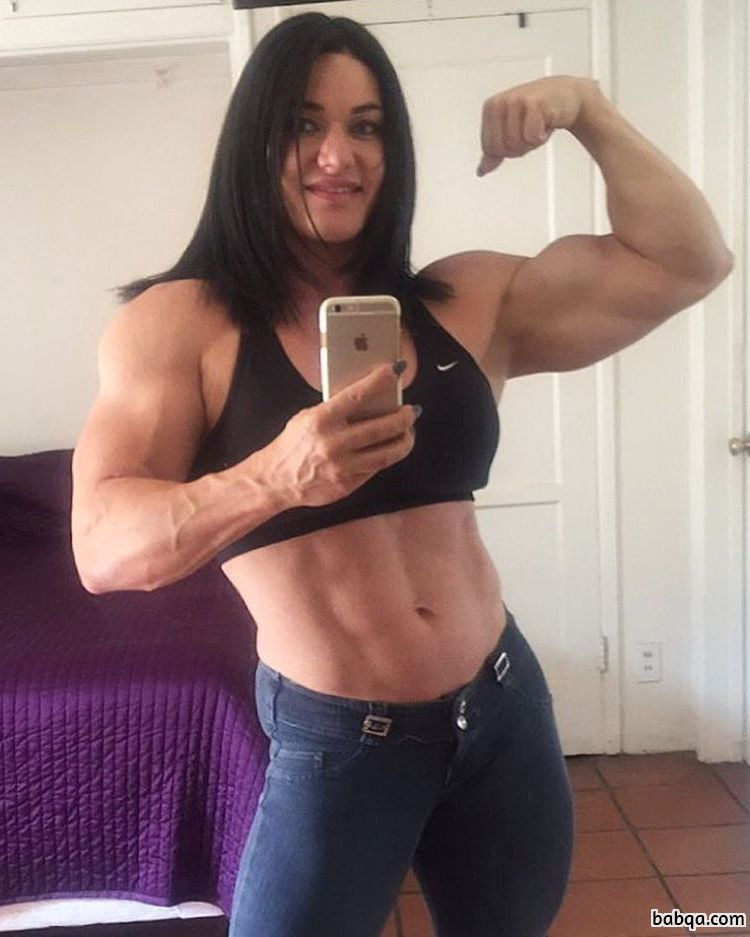 hot female bodybuilder with strong body and toned arms post from linkedin