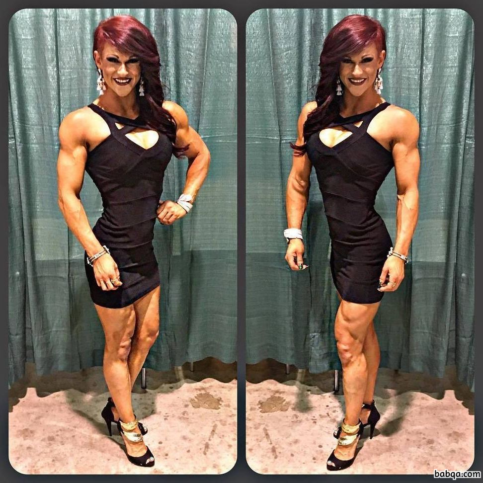 hot female bodybuilder with strong body and toned legs picture from insta
