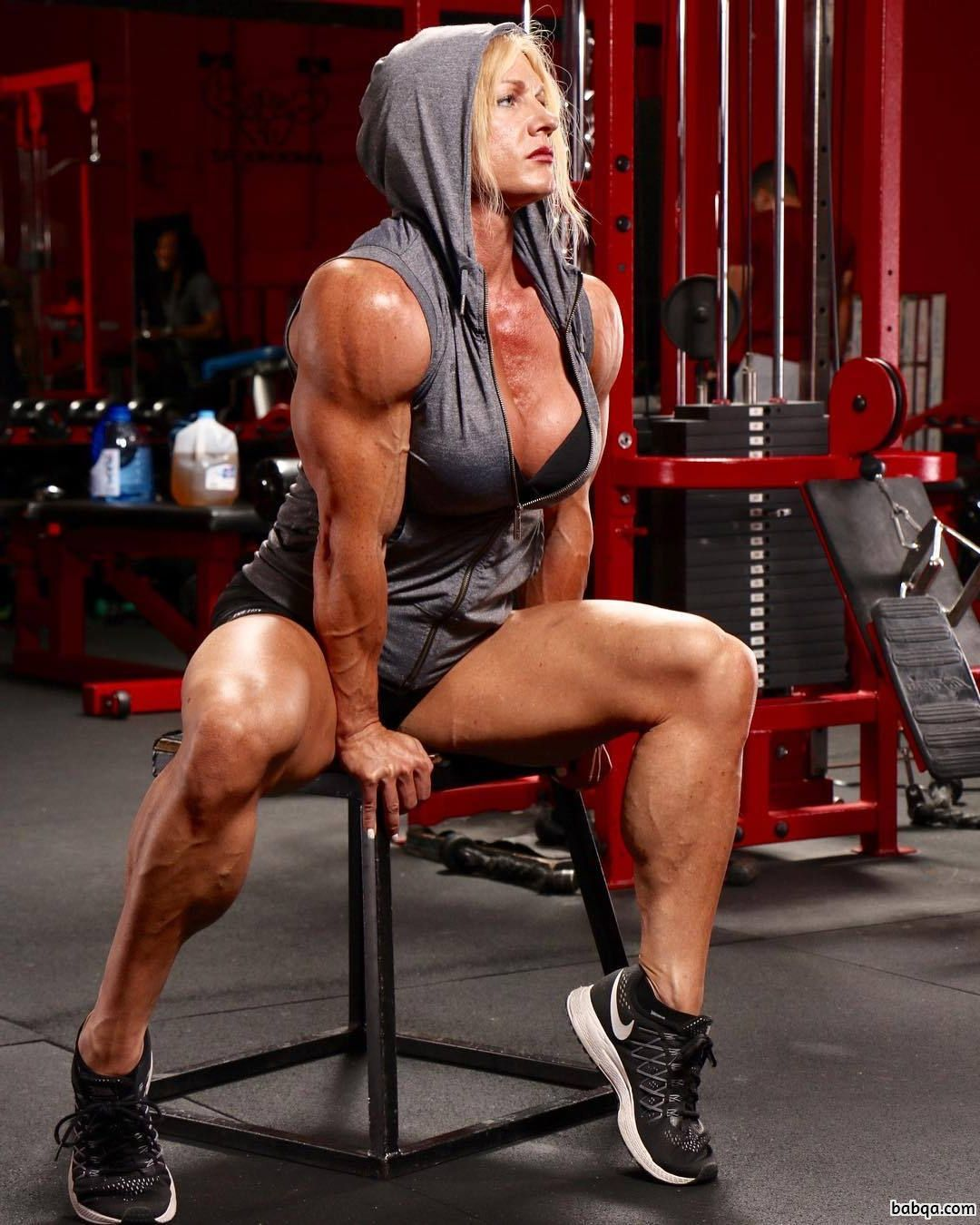 beautiful woman with muscle body and muscle arms pic from flickr
