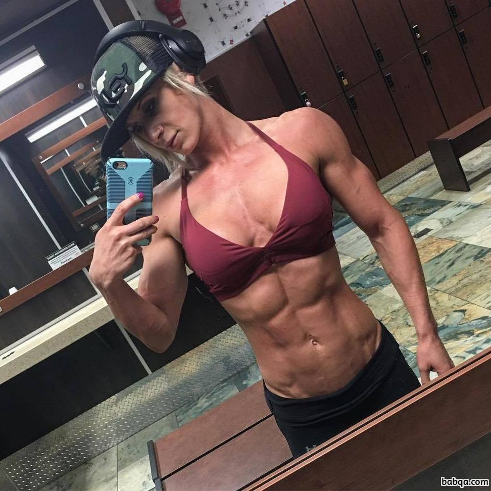 cute girl with muscular body and muscle arms repost from tumblr