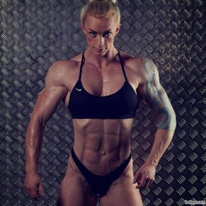 perfect babe with muscular body and muscle arms photo from instagram