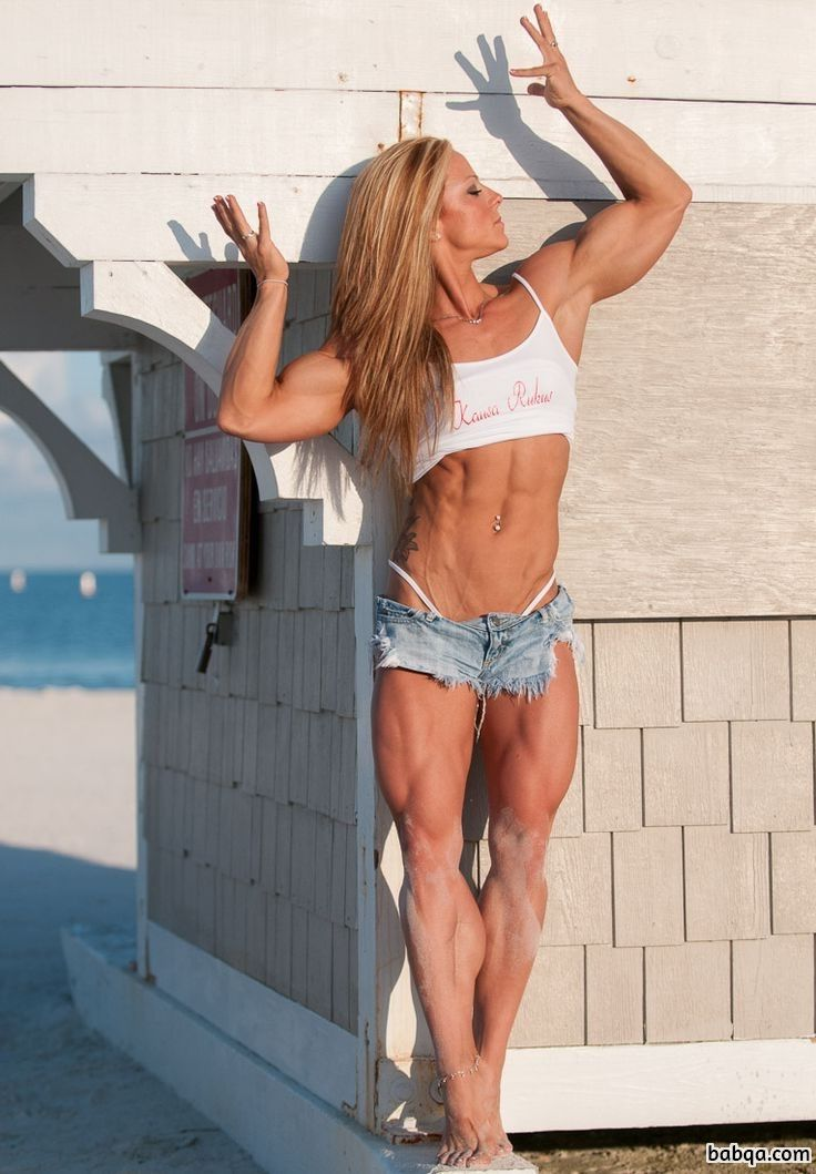 cute woman with fitness body and muscle bottom pic from facebook