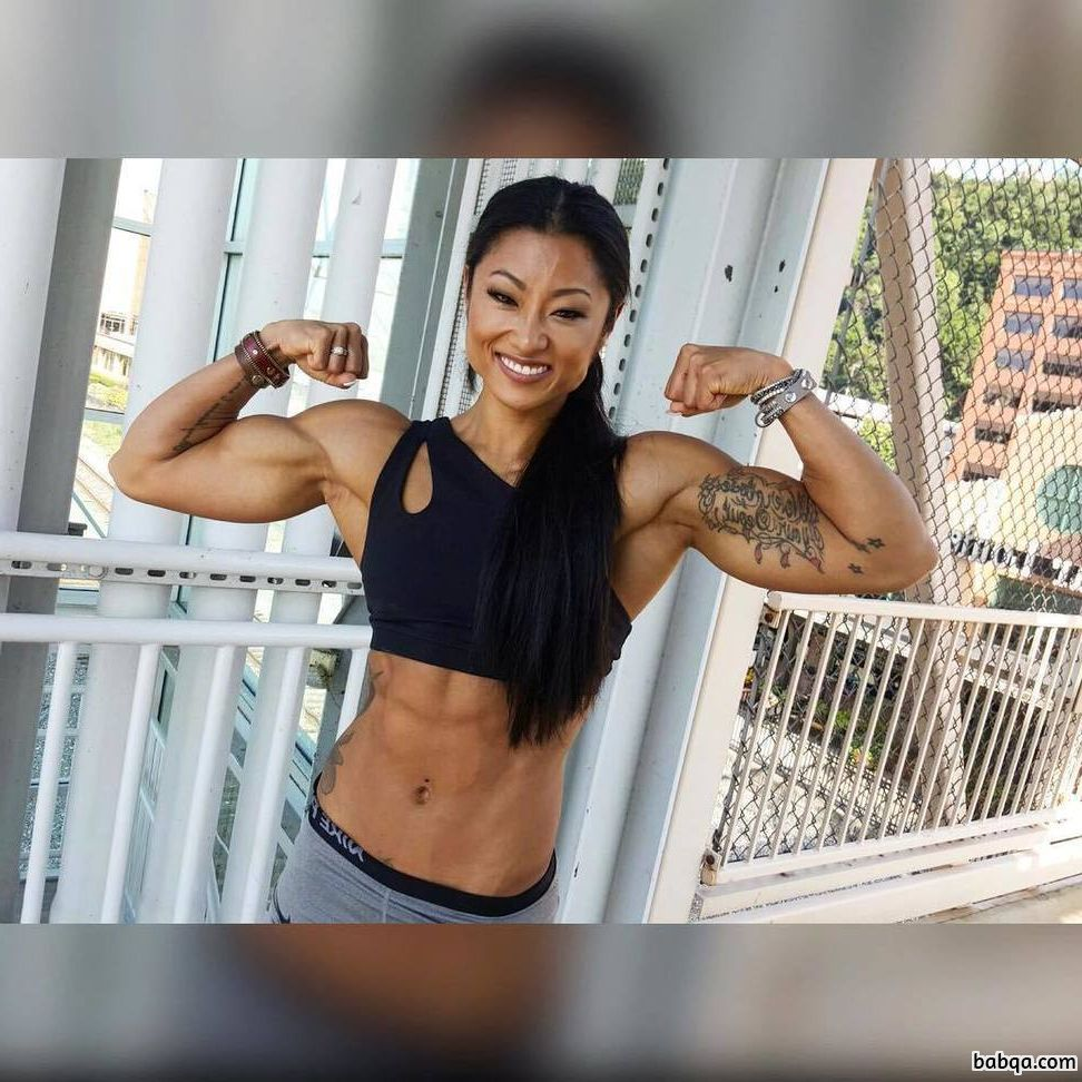 awesome babe with fitness body and muscle legs pic from instagram